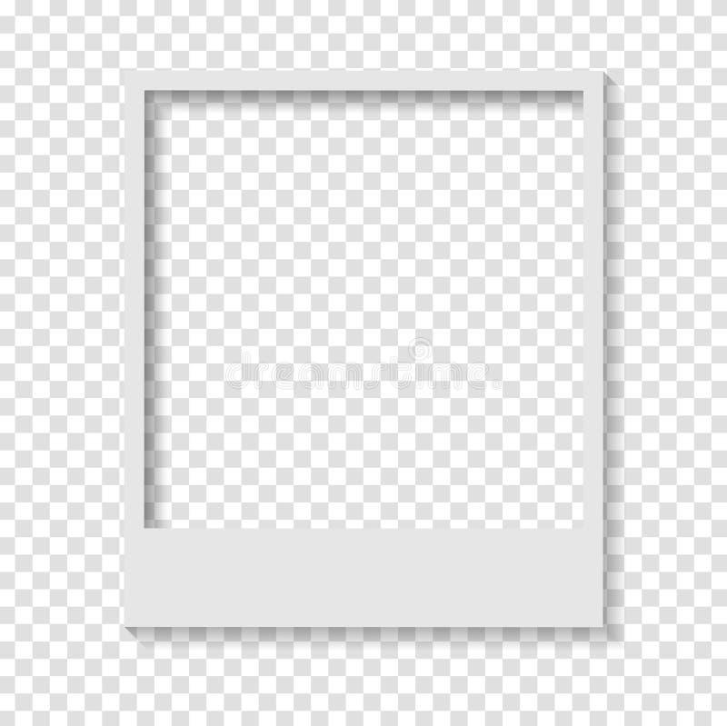 Tom genomskinlig pappers- polaroid- fotoram stock illustrationer