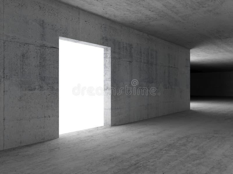 Tom glödande vit dörr abstrakt begrepp 3d royaltyfri illustrationer