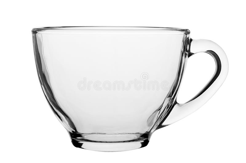 Tom glass kopp för kaffe som eller för te isoleras på vit bakgrund fotografering för bildbyråer