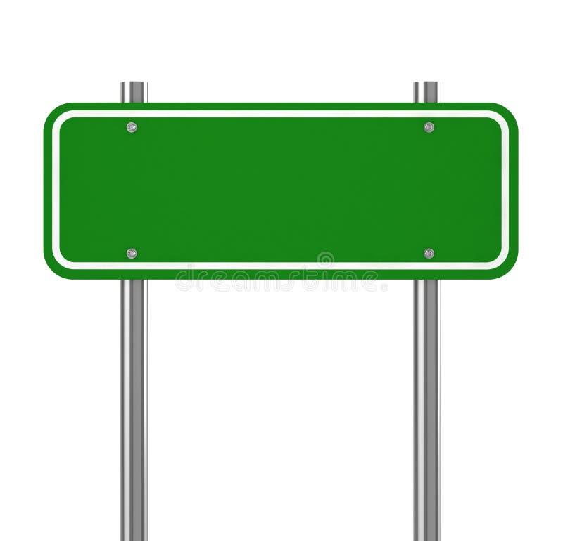 Tom gräsplan trafikerar vägmärket på vit stock illustrationer