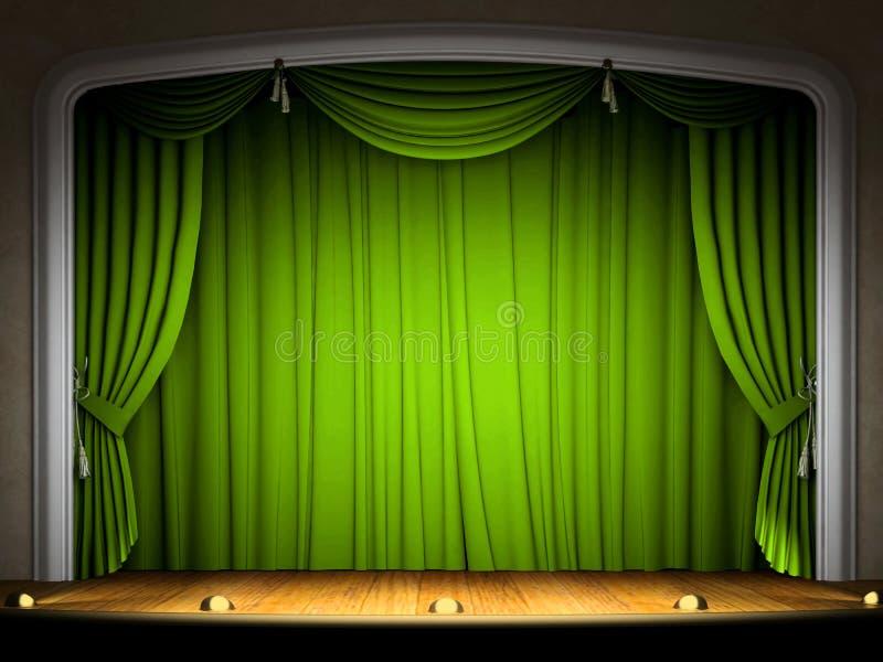 tom grön etapp för gardin vektor illustrationer