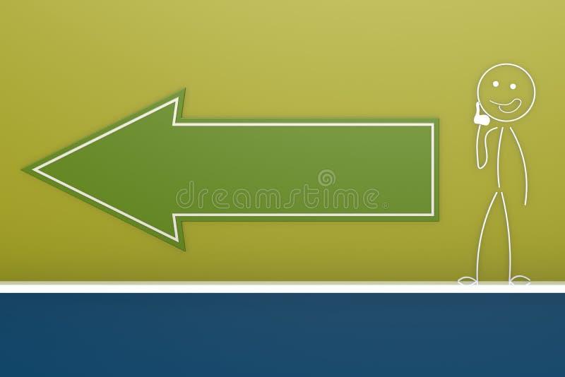Tom grön pil med dockan vektor illustrationer