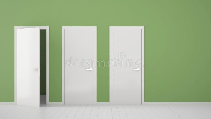 Tom grön ruminredesign med stängda och öppna dörrar med ramen, dörrhandtag, trävitt golv Val beslut, stock illustrationer