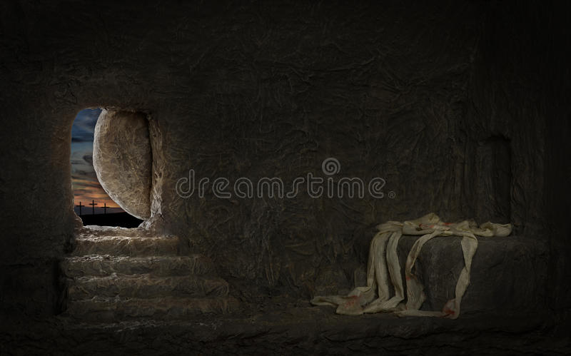 Tom gravvalv av Jesus royaltyfri foto