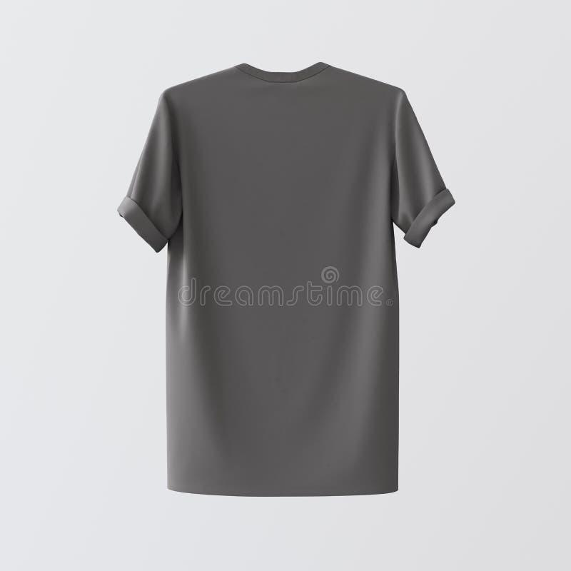 Tom Gray Textile Tshirt Isolated Center vit tom bakgrund Specificerade texturmaterial för modell högt Klar etikett royaltyfri fotografi