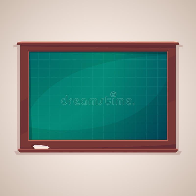 Tom gruppsvart tavla med kritastycket Svart tavla för skola, den svart tavlan för klassrum, utbildning och vetenskap planlägger vektor illustrationer