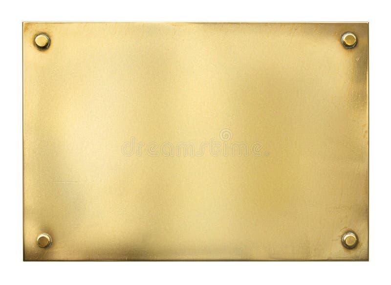 Tom guld- eller mässingsmetalltecken eller nameboard royaltyfri bild