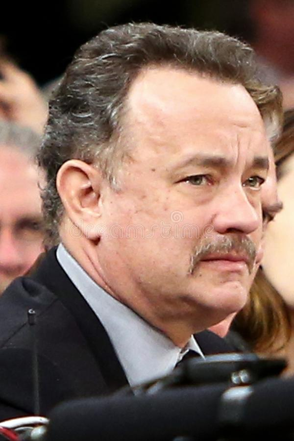Tom Hanks. NEW YORK - FEB 10: Actor Tom Hanks attends the game between the New York Knicks and the Los Angeles Clippers at Madison Square Garden on February 10 stock image