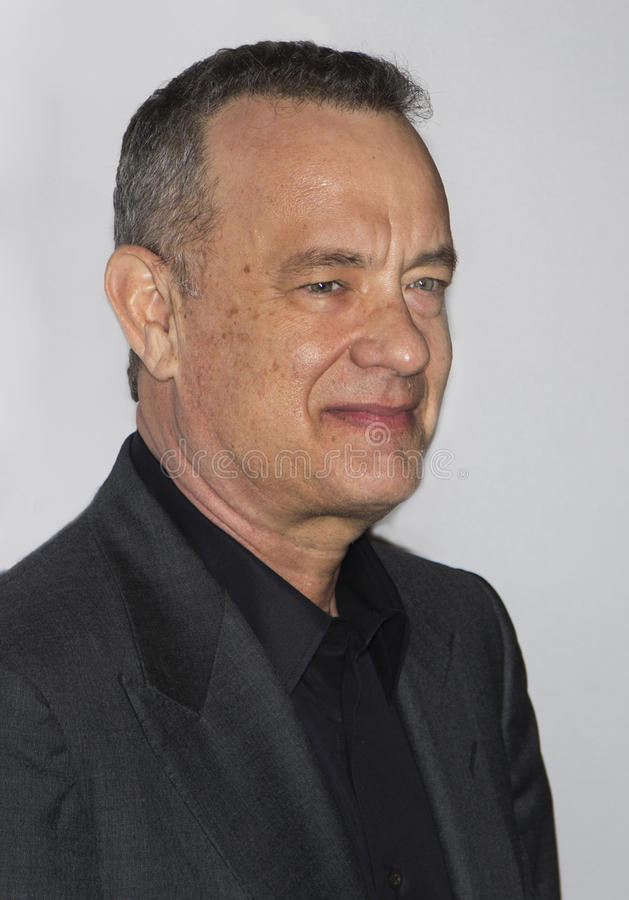 Tom Hanks. Oscar-winning actor and one of the producers of the film, Tom Hanks, arrives for the New York premiere of Universal Pictures and Gold Circle stock photo