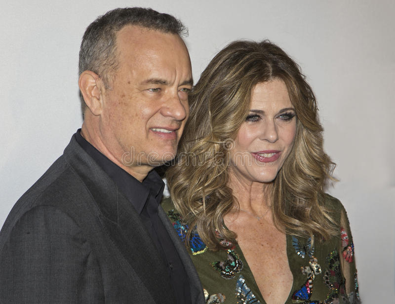Tom Hanks and Rita Wilson. Oscar-winning actor and one of the producers of the film, Tom Hanks, arrives for the New York premiere of Universal Pictures and Gold royalty free stock photo