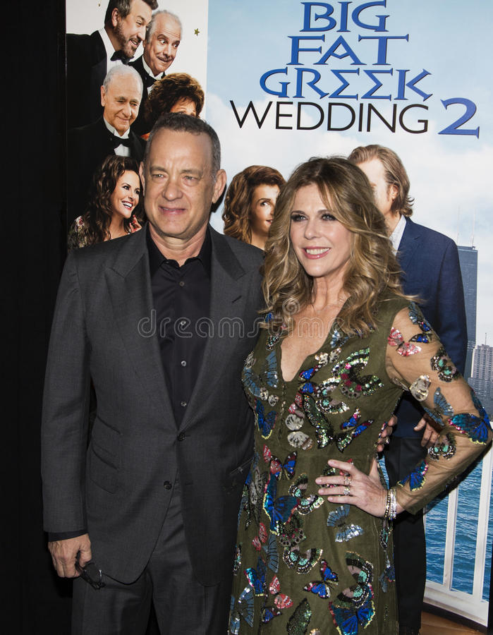 Tom Hanks and Rita Wilson. Oscar-winning actor and one of the producers of the film, Tom Hanks, arrives for the New York premiere of Universal Pictures and Gold royalty free stock images