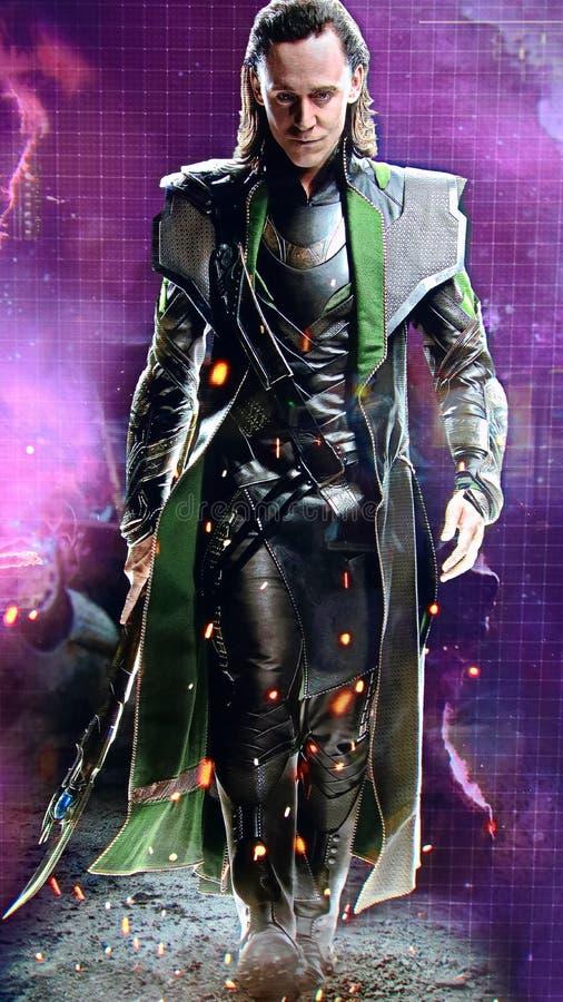 Tom Hiddleston als Loki stock afbeelding