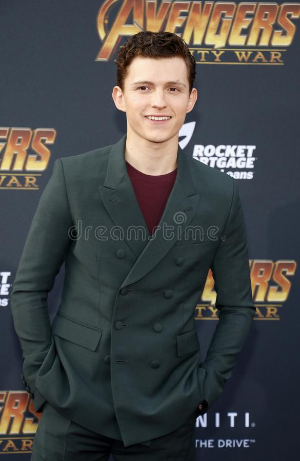 Tom Holland. At the premiere of Disney and Marvel`s `Avengers: Infinity War` held at the El Capitan Theatre in Hollywood, USA on April 23, 2018 stock photo
