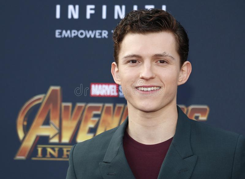 Tom Holland. At the premiere of Disney and Marvel`s `Avengers: Infinity War` held at the El Capitan Theatre in Hollywood, USA on April 23, 2018 royalty free stock photo