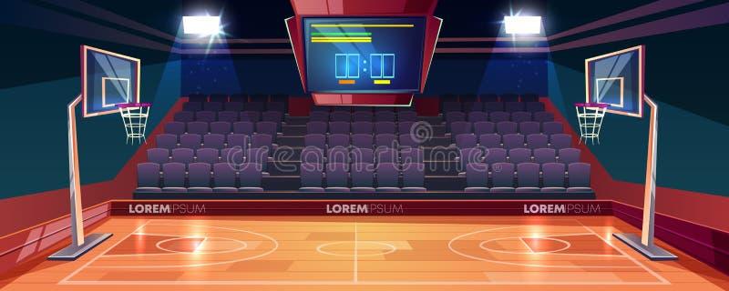 Tom illustration för vektor för tecknad film för basketdomstol vektor illustrationer