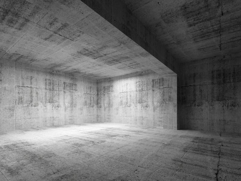 Tom inre för rum för mörkerabstrakt begreppbetong arkivbild
