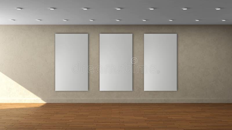Tom inre mall för hög vägg för upplösning beige med den vertikala ramen för vit färg 3 på den främre väggen stock illustrationer