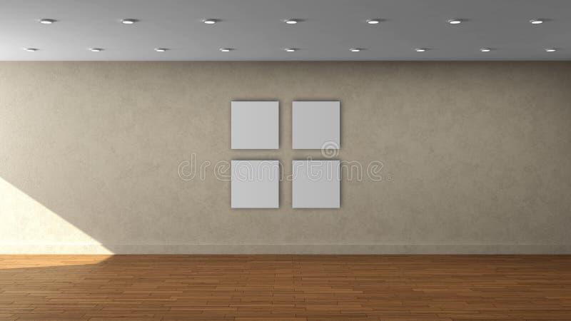 Tom inre mall för hög vägg för upplösning beige med den vita fyrkantramen för färg 4 på den främre väggen stock illustrationer