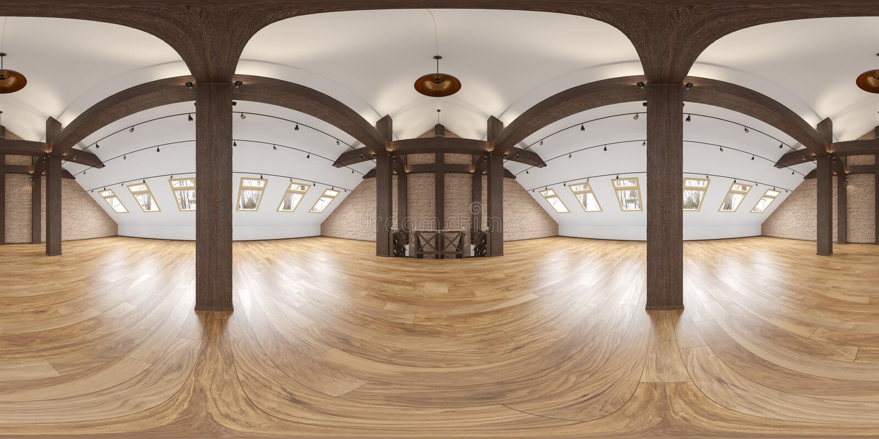 Tom inre panorama för vind med strålar, tegelstenvägg, trägolv royaltyfri illustrationer