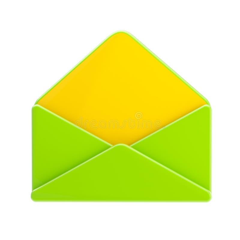 Tom isolerade gräsplan och gult glansigt kuvert royaltyfri illustrationer