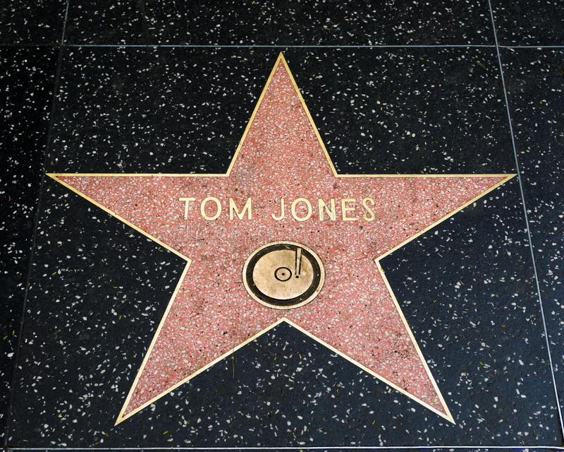 Tom Jones Star sulla passeggiata di Hollywood di fama immagini stock libere da diritti