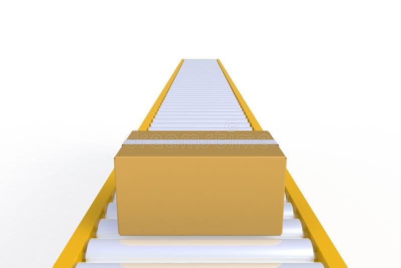 Tom kartong för främre sikt på den gula transportörlinjen som isoleras på en vit bakgrund, leveransbegrepp royaltyfri illustrationer