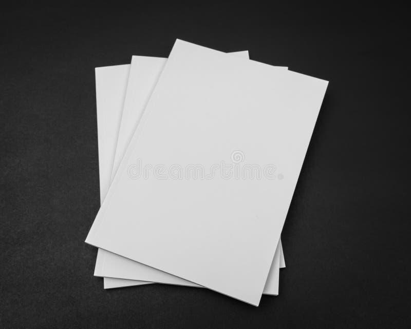 Tom katalog, tidskrifter, bokåtlöje upp på svart bakgrund royaltyfria foton