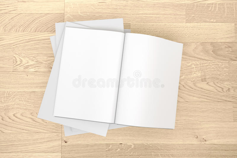 Tom katalog, tidskrifter, bokåtlöje upp på wood bakgrund royaltyfri fotografi