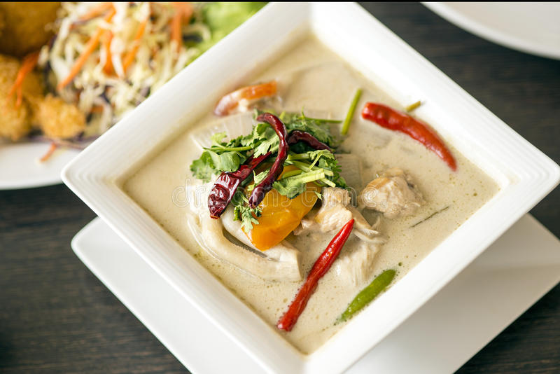 (tom kha kai)-chicken in coconut milk soup royalty free stock image