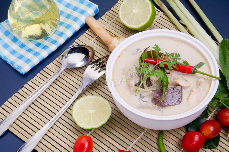 Tom Kha Kai or Spicy Chicken Soup with Coconut Milk - Thai food. Popular Recipe stock photo