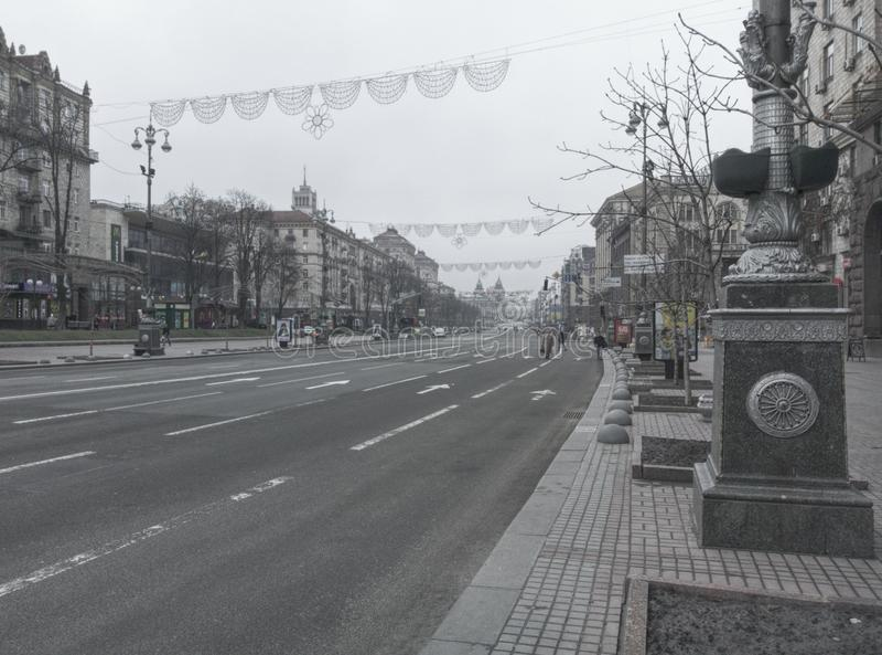 Tom Khreshchatyk gata i Kyiv fotografering för bildbyråer