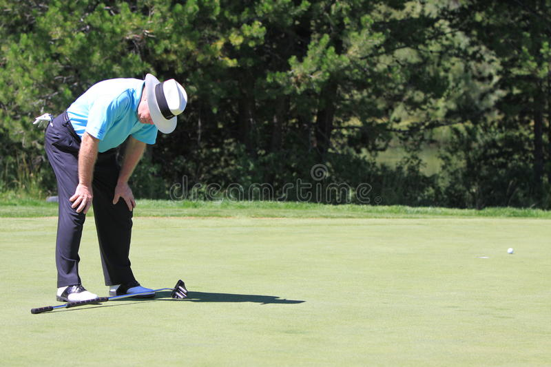 Tom Kite reacts to missed putt stock photo