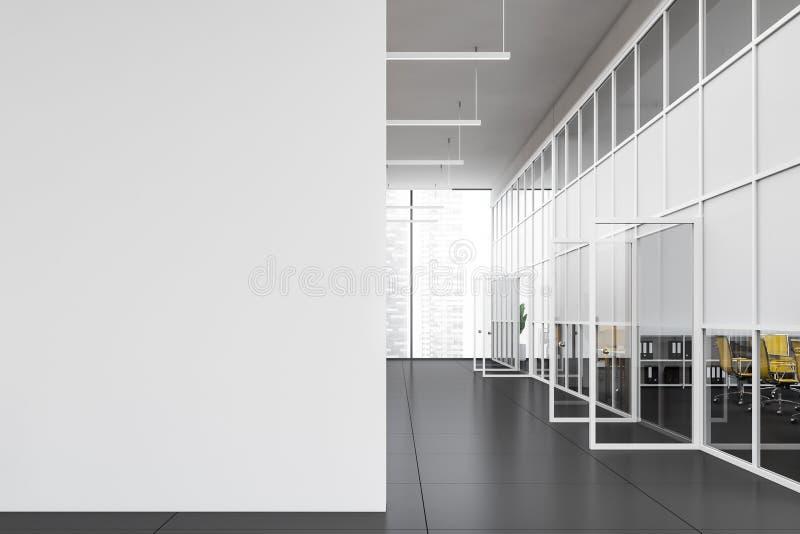 Tom kontorskorridorinre med åtlöje upp väggen royaltyfri illustrationer
