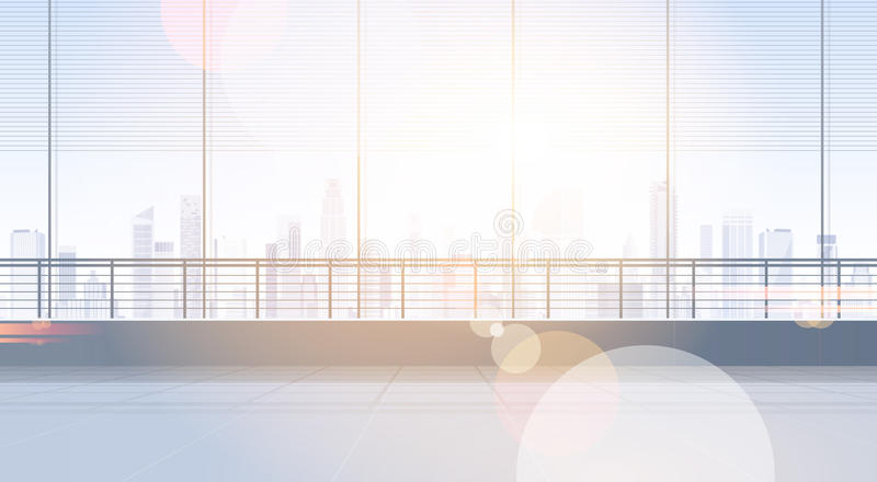 Tom kontorsrumstudio som bygger Real Estate det inre fönstret med modernt utrymme för stadslandskapkopia royaltyfri illustrationer