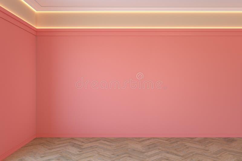 Tom korall, rosa färg som är inre med den tomma väggen, stöpningar, bakbelyst och träsparreparkettgolv för tak royaltyfri fotografi