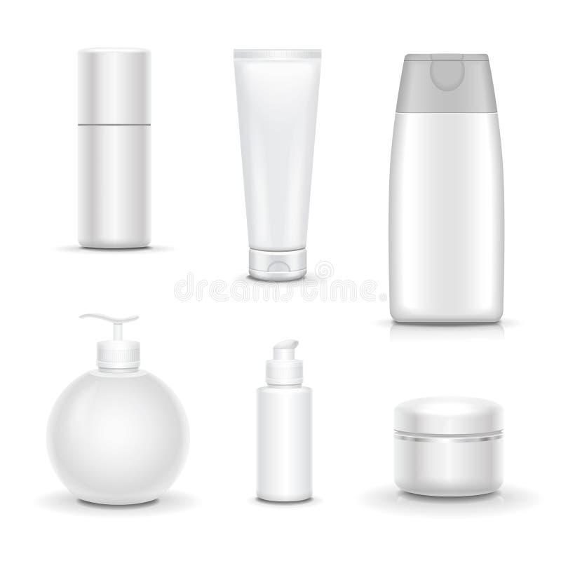Tom kosmetisk packesamlingsuppsättning på vit bakgrund vektor illustrationer