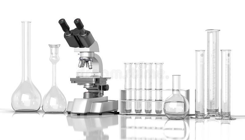 tom labora för whith för laboratoriumglasföremål royaltyfri illustrationer
