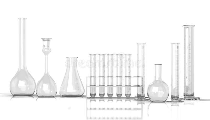 tom laboratoriumglasföremål på vit bakgrund stock illustrationer