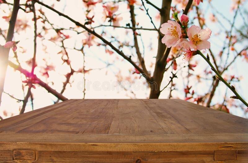 Tom lantlig tabell framme av härlig blommabakgrund för vår arkivbilder