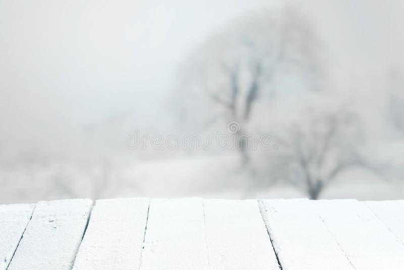 Tom lantlig tabell i ett vinterlandskap arkivfoton