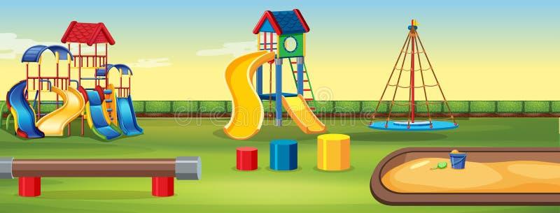 Tom lekplats med utrustning royaltyfri illustrationer