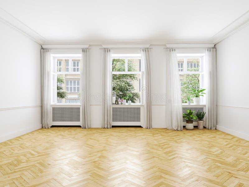 tom loft för lägenhet framförande 3d arkivbilder