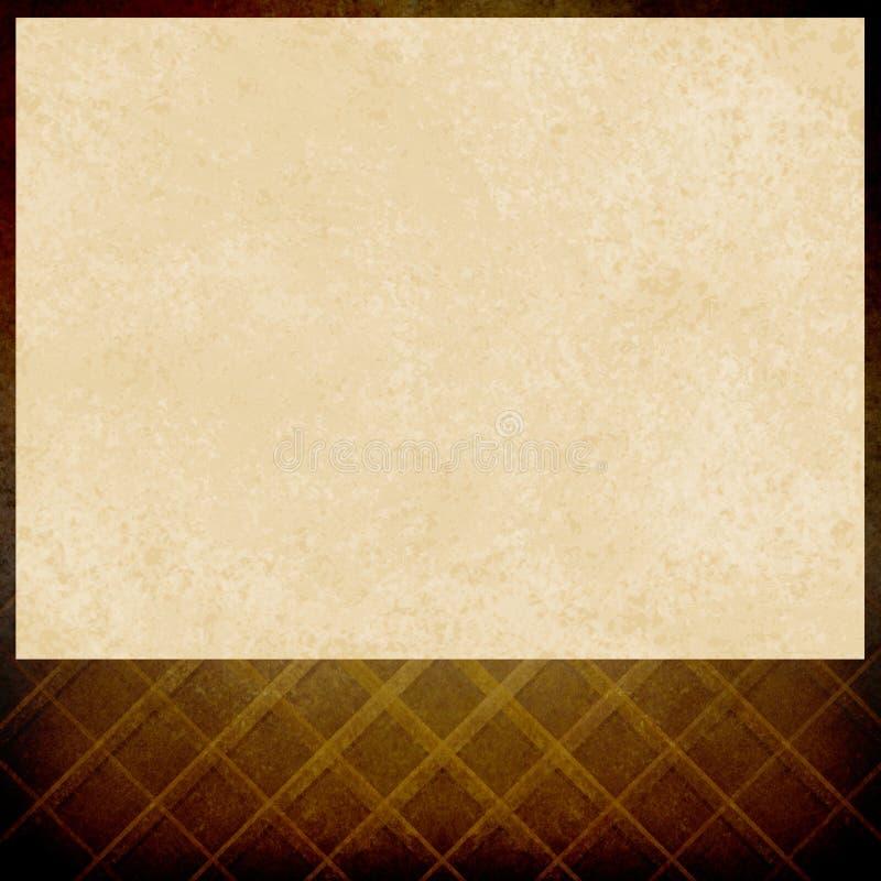 Tom mötesplatsaffisch eller filmaffisch, tappningvitbok på sjaskig brun guld- bakgrundsmodelldesign royaltyfri illustrationer