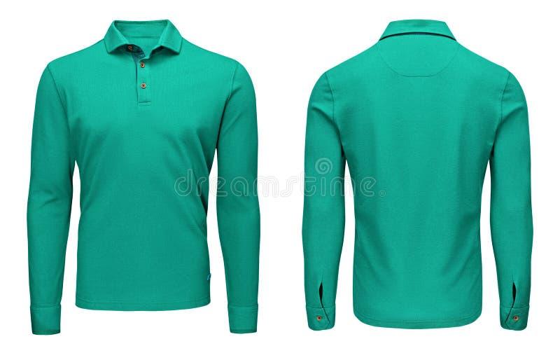 Tom mallmäns sikt för muff, för framdel och för baksida för skjorta för polo för turkos lång, vit bakgrund Designtröjamodell för  arkivfoto