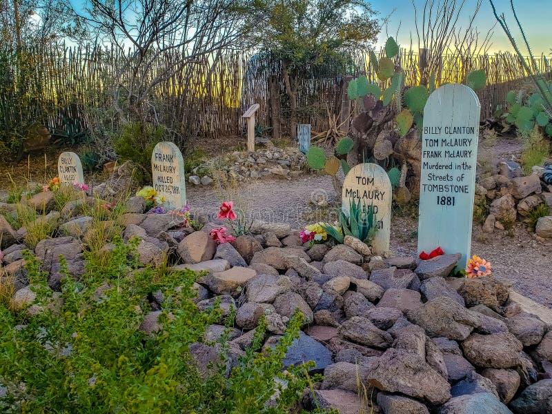 Tom McLaury, Frank McLaury y Billy Clanton Grave fotos de archivo libres de regalías