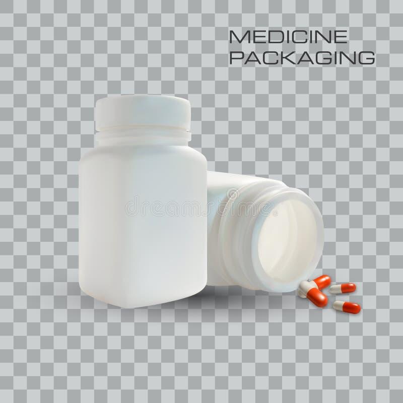 Tom medicinflaska och preventivpillerar på genomskinlig bakgrund också vektor för coreldrawillustration Mall för affär stock illustrationer