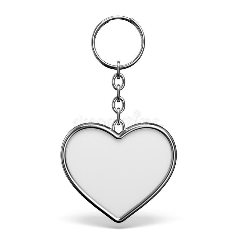 Tom metallbillig prydnadssak med en cirkel för en nyckel- hjärtaform 3D royaltyfri illustrationer