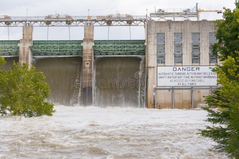 Tom Miller Dam-holding die vloedwateren vrijgeven stock afbeeldingen