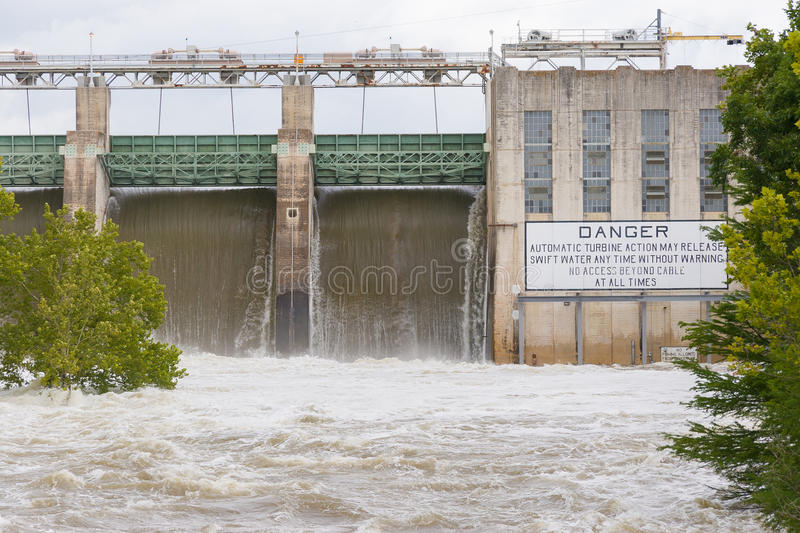 Tom Miller Dam holding releasing flood waters. In 2007 after unusually heavy rainfall stock images