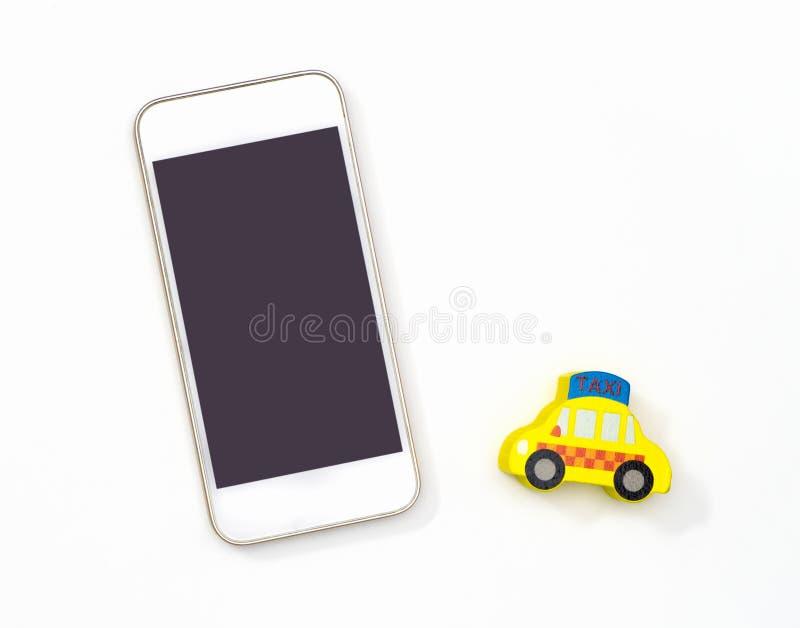 Tom mobiltelefon för taxien som kallar begrepp arkivbild